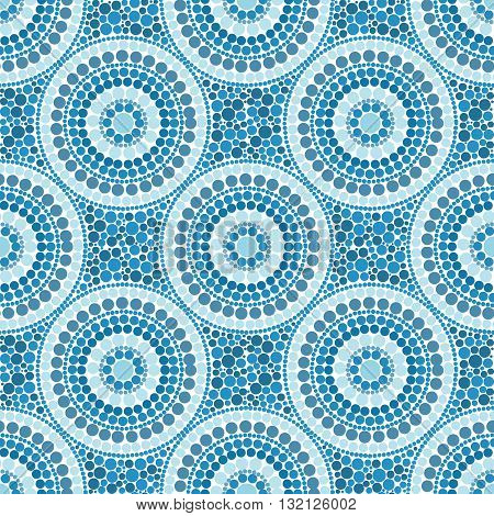 Blue colors dotted circles vector seamless pattern tile