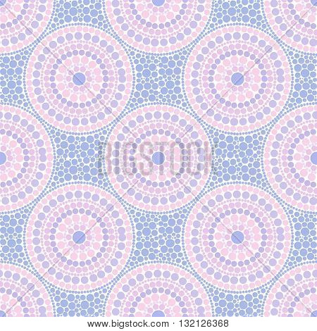 Trendy pink and blue colors dotted circles vector seamless pattern