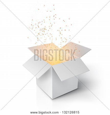 Illustration of Realistic Magic Open Box. Grey Magic Box with Confetti and Magic Light. Magic Gift Box Isolated on White Background