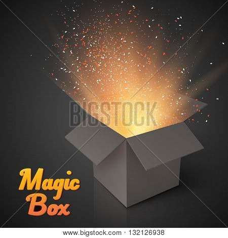 Illustration of Grey Magic Box with Confetti and Magic Light. Realistic Magic Open Box. Magic Gift Box with Magic Light Comming from Inside