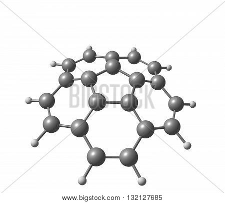 Corannulene is a polycyclic aromatic hydrocarbon with chemical formula C20H10. The molecule consists of a cyclopentane ring fused with 5 benzene rings so another name for it is 5-circulene. 3d illustration poster