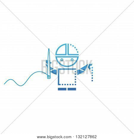 Metal robot sewing vector illustration isolated on white background.