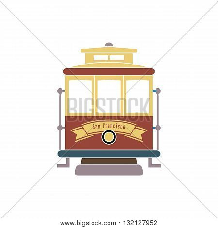 San Francisco streetcar tramway vector illustration isolated on white background.