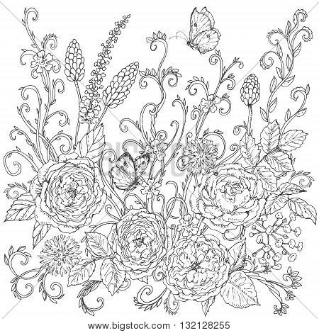 Hand drawn floral pattern with tea rose. Black and white flowers leaves curls and flying butterflies for coloring. Vector sketch.