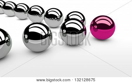 Business leadership concept with a pink leader sphere and silver followers 3D illustration.