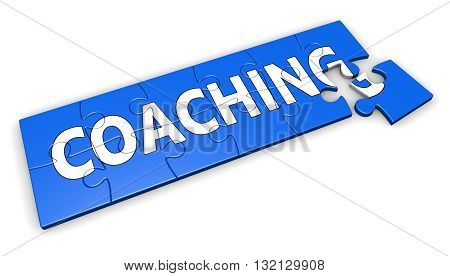 Coaching life and business concept with sign and word on a blue jigsaw puzzle 3D illustration isolated on white background.