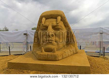 MOSCOW RUSSIA - May 1 2016: The exhibition of sand sculptures in Kolomenskoye Park. Composition