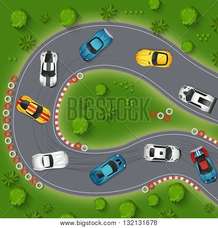 Cars Drifting Top View Background. Rally Cars Drifting Vector Illustration. Sport Cars Drifting Cartoon Design. Racing Cars Drifting Decorative Symbols.