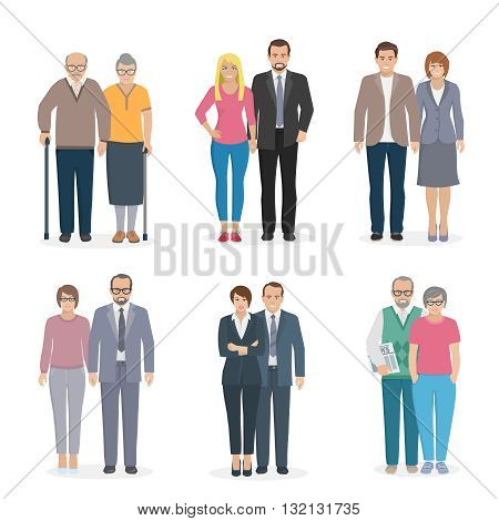 Color decorative icons set depicting family couple in different age vector illustration