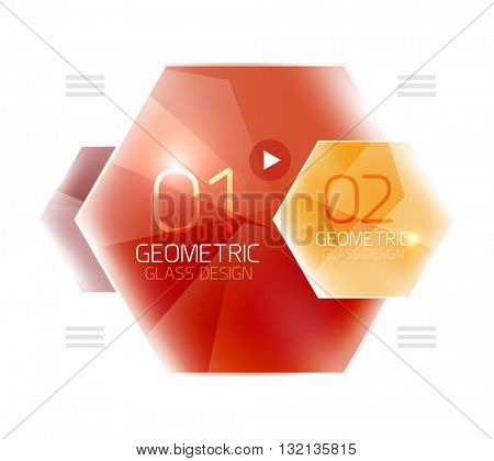 Hexagon option infographics. Vector universal design template