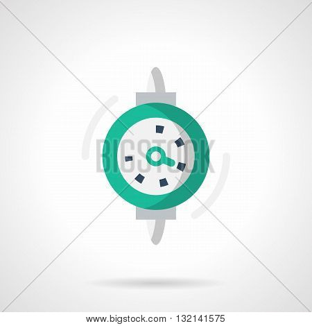 Green dial gauge or indicator. Instrument for change marks the parameters of the mechanical system. Measuring tools and equipment. Single flat color design vector icon.