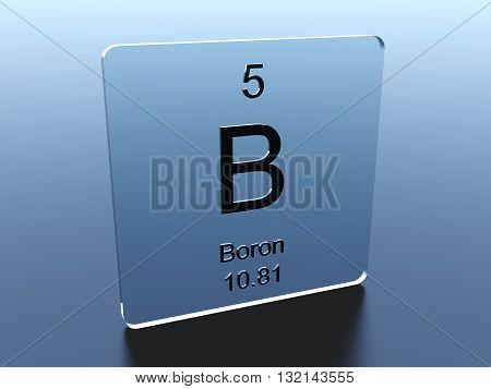 Boron symbol on a blue glass square 3D render poster