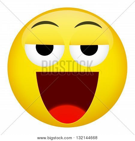 Drunken tired smile emotion. Emoji vector illustration.
