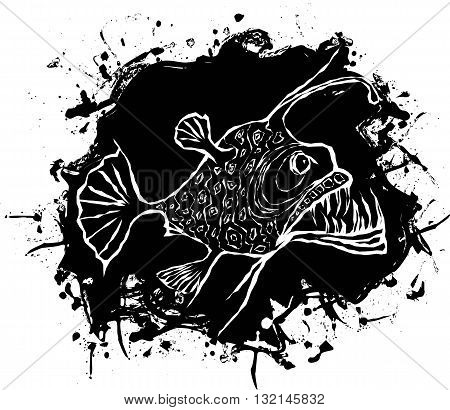 Angler fish vector design on a black abstract spot