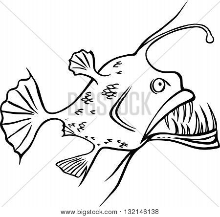 Weird looking deep water ocean fish, black and white illustration