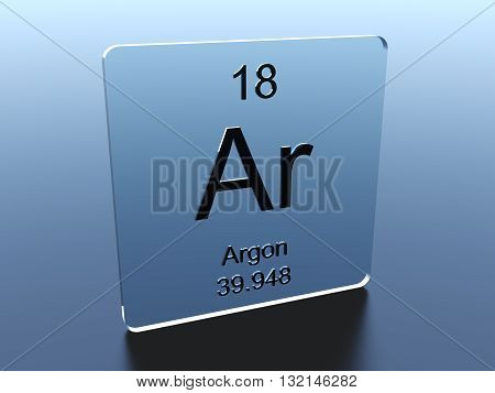 Argon symbol on a blue glass square 3D render