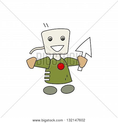 Cute cartoon style computer man fictional holding mouse pointer vector illustration isolated on white backgorund.