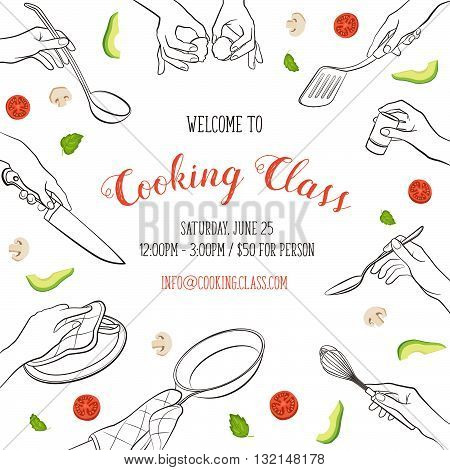 Cooking class flayer template. Cooking hands outlines isolated on white background. frame from woman hands holding kitchen items.