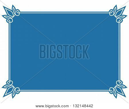 Simple Blue Vector Line Border Frame Isolated Illustration
