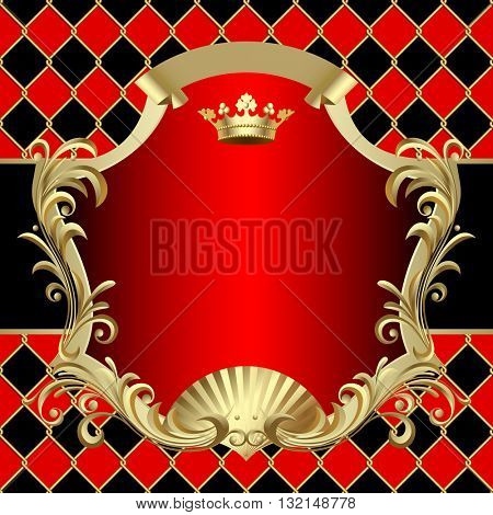 Vintage gold and red banner with a crown on on red and black rhomboids background