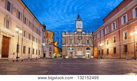 Piazza del Popolo in the evening Ravenna Emilia-Romagna Italy