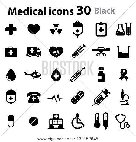 Medical Icons_black (cross, heart, niddle, blood, hospital, chart...)