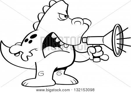 Black and white illustration of a dinosaur shouting into a megaphone.