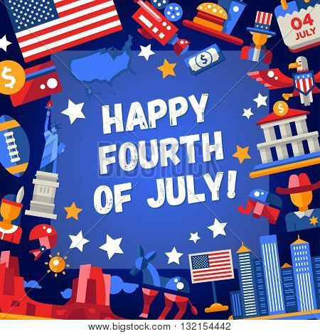 Modern vector USA Independence Day greeting card with famous American symbols. Happy fourth of July.