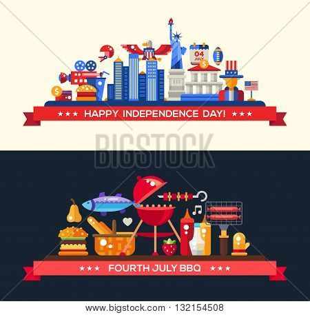 Modern vector USA Independence Day and Barbeque banners set with famous American symbols