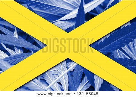Cross Of St. Alban, On Cannabis Background