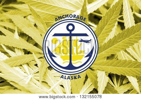 Flag Of Anchorage, Alaska, On Cannabis Background