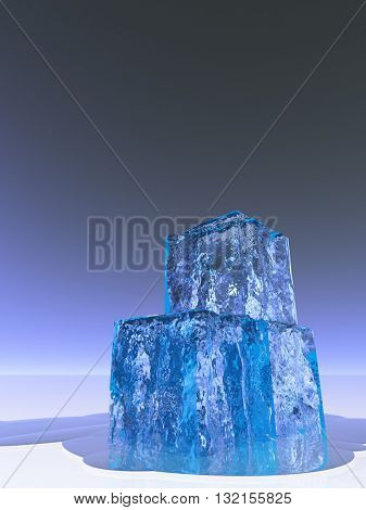 Ice Cubes 3D Render