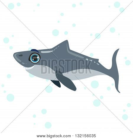 Great White Shark Bright Color Cartoon Style Vector Illustration Isolated On White Background