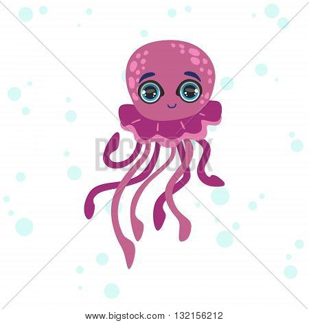 Jelly Fish Bright Color Cartoon Style Vector Illustration Isolated On White Background