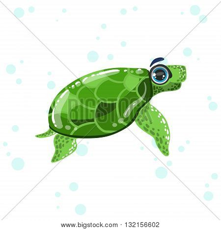 Green Turtle Bright Color Cartoon Style Vector Illustration Isolated On White Background