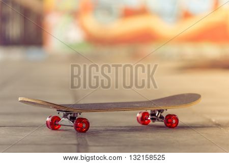 Side view of skateboard with red wheels in skate park waiting for some skater
