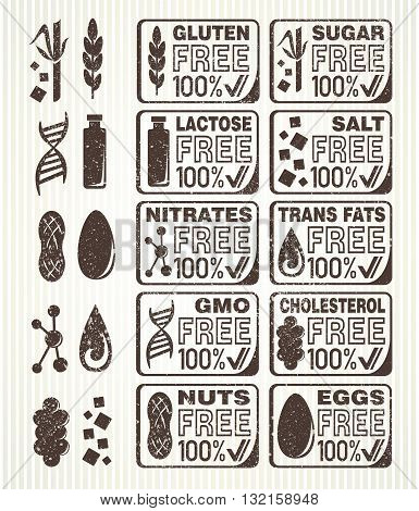 Diet signs collection. Gluten free lactose free sugar free salt free nuts free eggs free nitrates free cholesterol free trans fats free GMO free labels.
