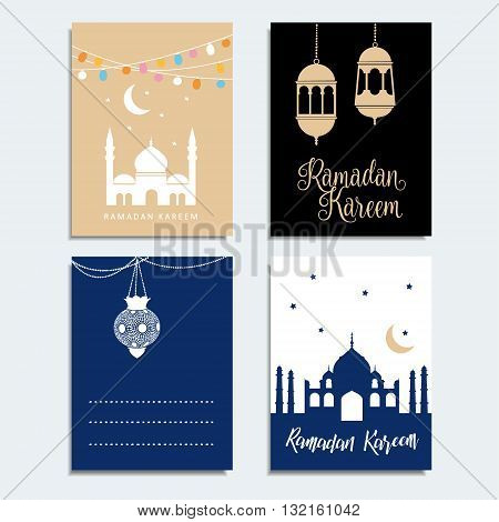 Set of Ramadan cards. Arabic lanterns. Mosque silhouette. Invitations for holy muslim month Ramadan Kareem. Stock vector backgrounds. Flat design.