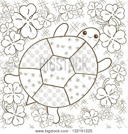 Turtle Heaven adult coloring book page. Cute turtle in clover garden. Whimsical line art vector illustration. Brown outline.