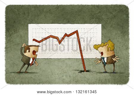 two businessmen shocked with falling arrow on business chart