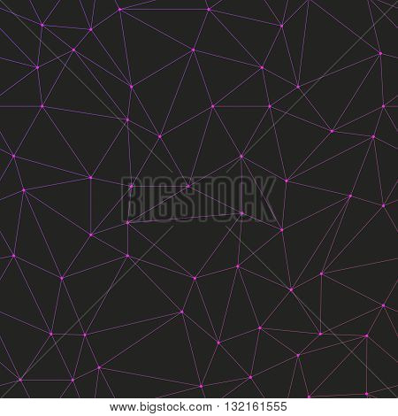 Abstract background with many gradient colored triangles with circles on vertexes dots connected with lines