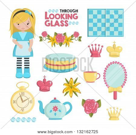 Through the looking glass magic dream illustrations set. Holiday and event decorations design elements. Roses lily cake girl chess