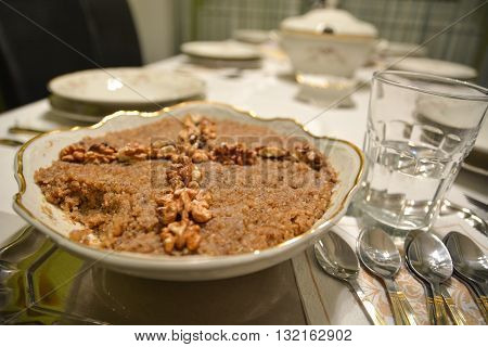 Ortodox Food Wheat Desert With Glass Of Watter