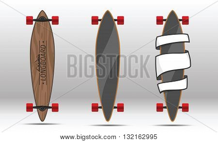 illustration of longboards. Illustration of flat longboards isolated on white background. Flat colorful longboards.