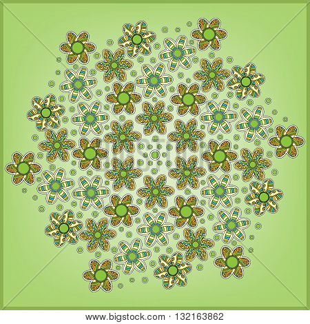 Green background with colorful modern flowers and dots