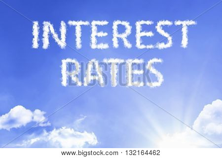 Interest Rates cloud word with a blue sky