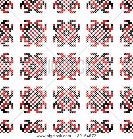 Isolated seamless embroidered texture with red and black abstract patterns for cloth. Cross stitch