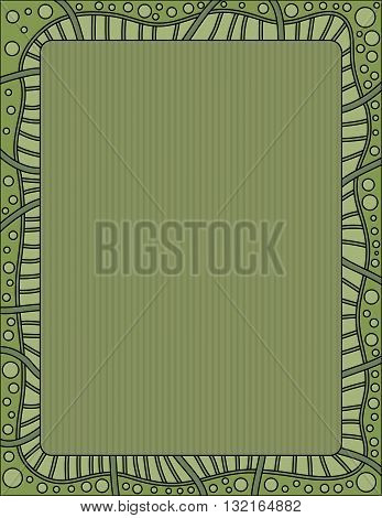 Green background with dots and striped border