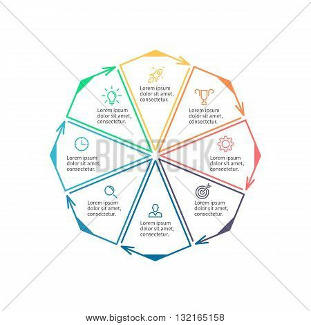 Octagon for infographics. Minimalistic chart, diagram with 8 steps, parts. Vector design template.