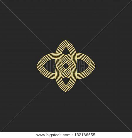 Sacred Geometry Shape Flower Logo Monogram, Intersection Line Style Beauty Salon Emblem